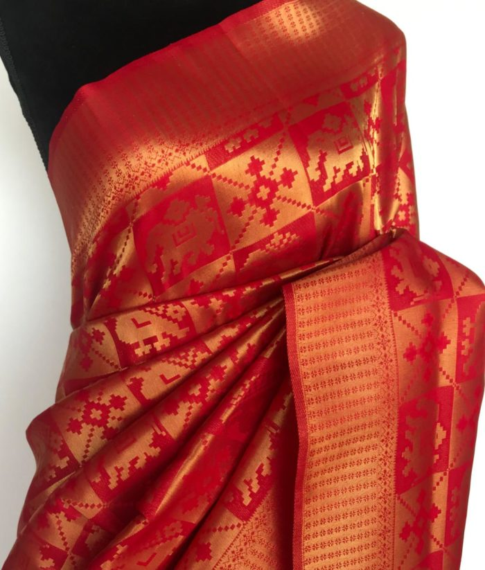 Chilli Red Banarasi Silk Saree with Gold Zari Weaves