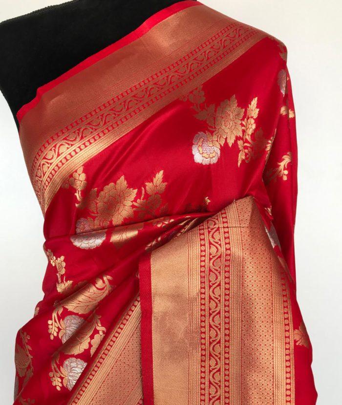 Scarlet Red Banarasi Silk Saree with Gold and Silver Zari Weaves