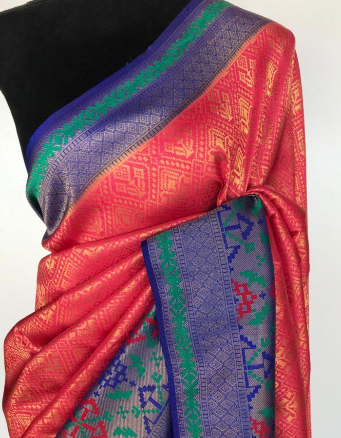 Coral Pink Banarasi Silk Saree with Golden Zari Weaves