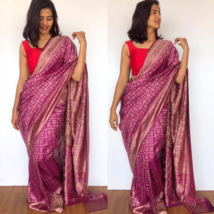 Purple Banarasi Silk Saree in Silk Georgette with Gota Weaves