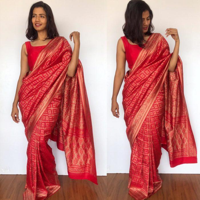 Red Banarasi Silk Saree in Silk Georgette with Gota Weaves