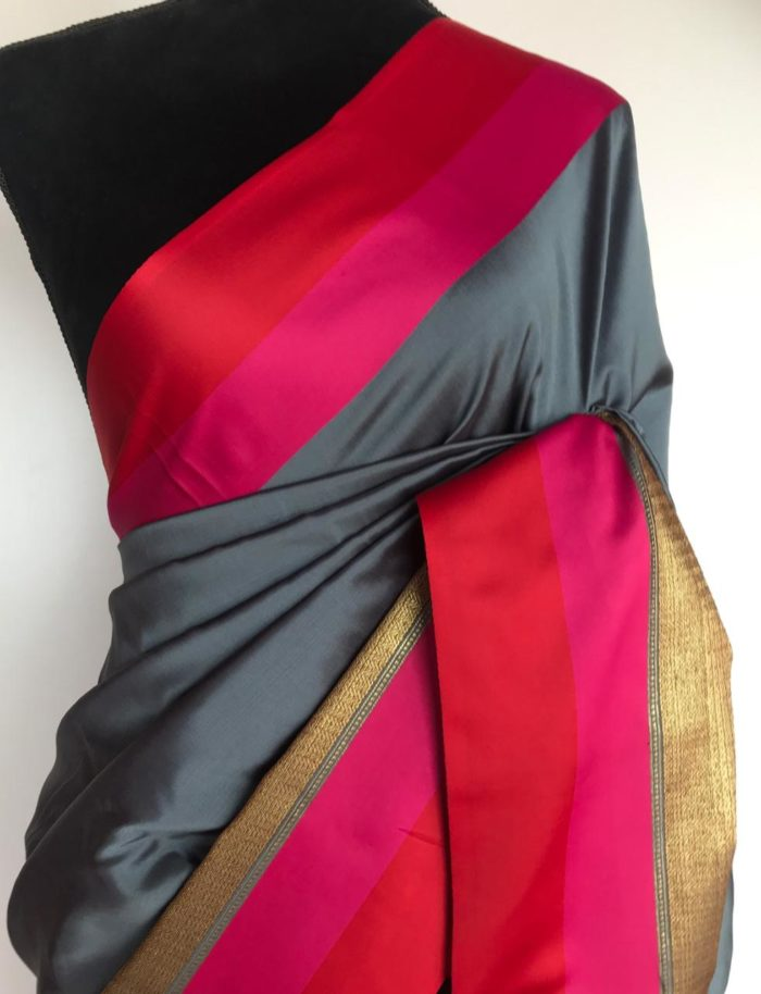 Steel Grey Banarasi Silk Saree with Gold Zari Weaves