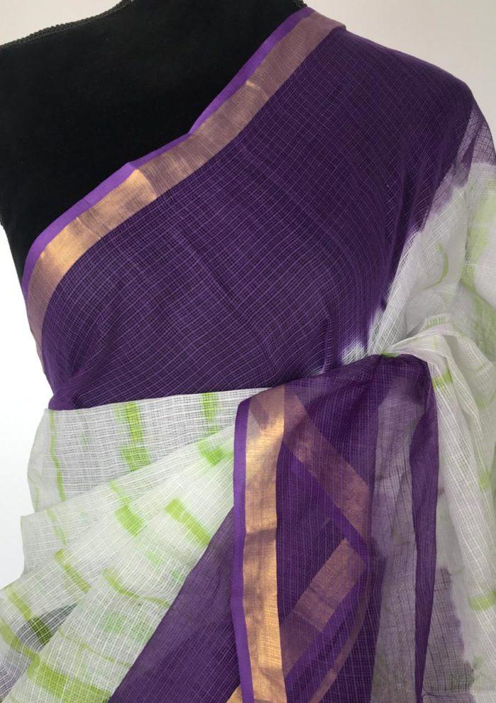 Purple White Shibori Kota Cotton Saree
