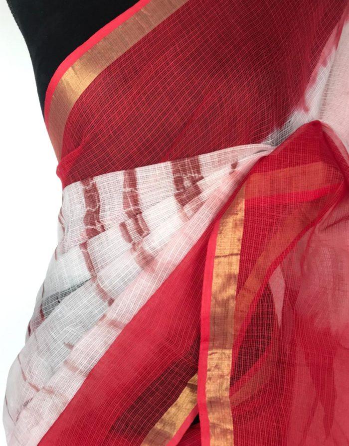 Red White Shibori Kota Cotton Saree
