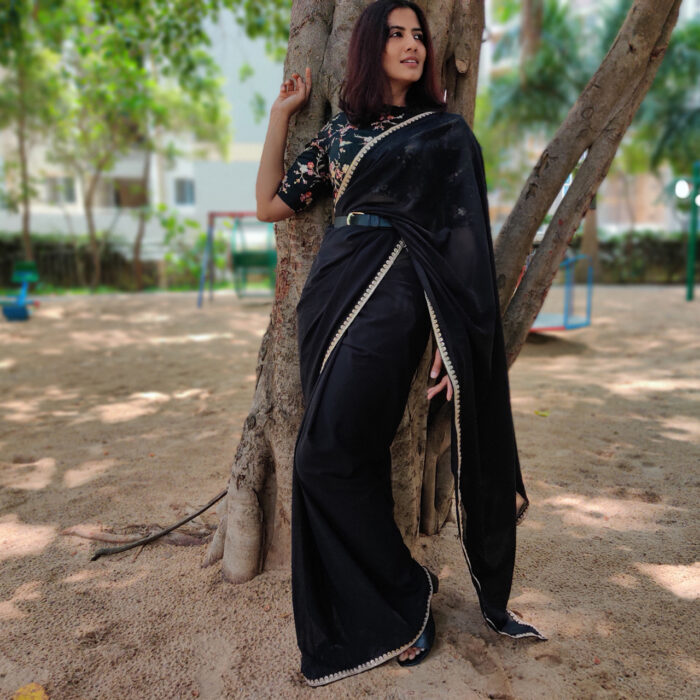 Black Georgette Saree with Designer Border