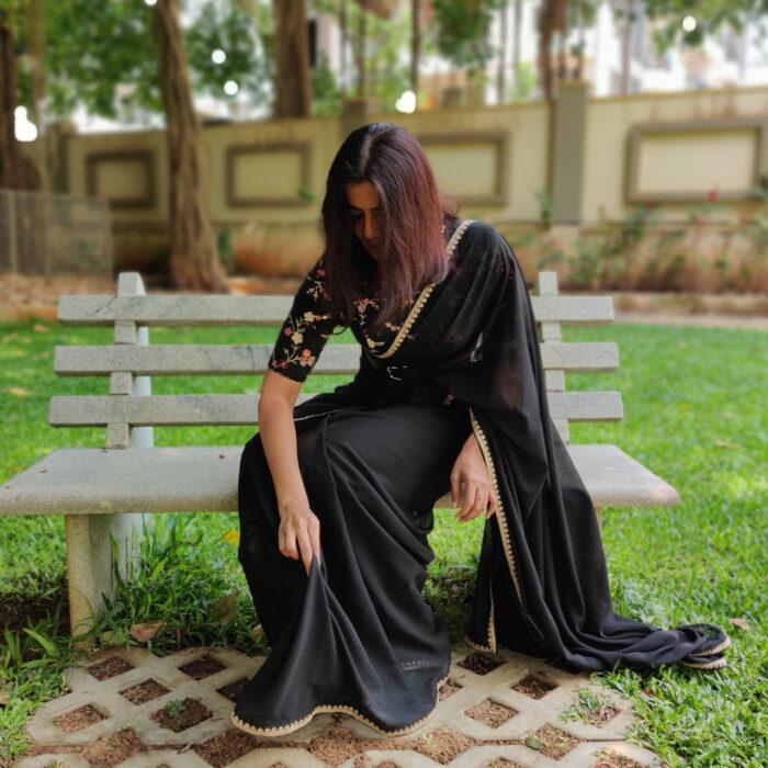 Black Georgette Saree with Designer Border