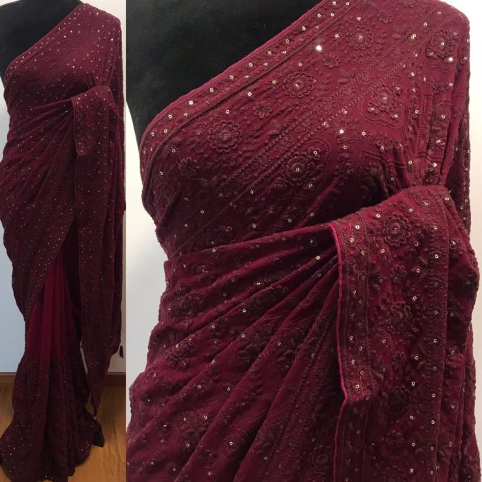 Burgundy Georgette Saree with Lucknowi Embroidery