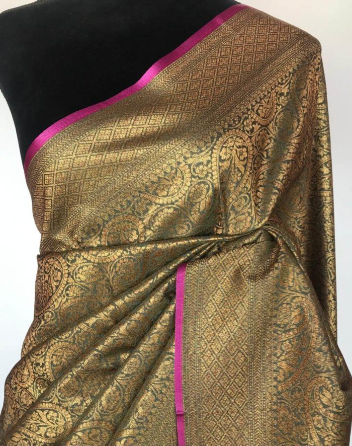 Grey Banarasi Silk Saree with Intricate Antique Gold Zari Weaves