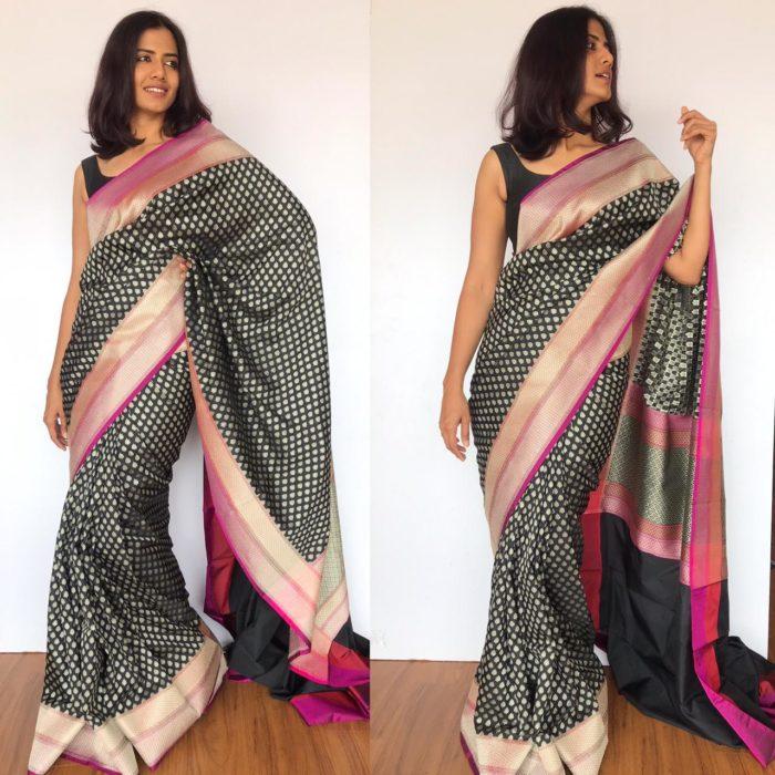 Black Katan Silk Saree with Silver Zari Weaves