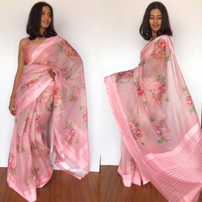 Pink Organza Saree with Floral Prints