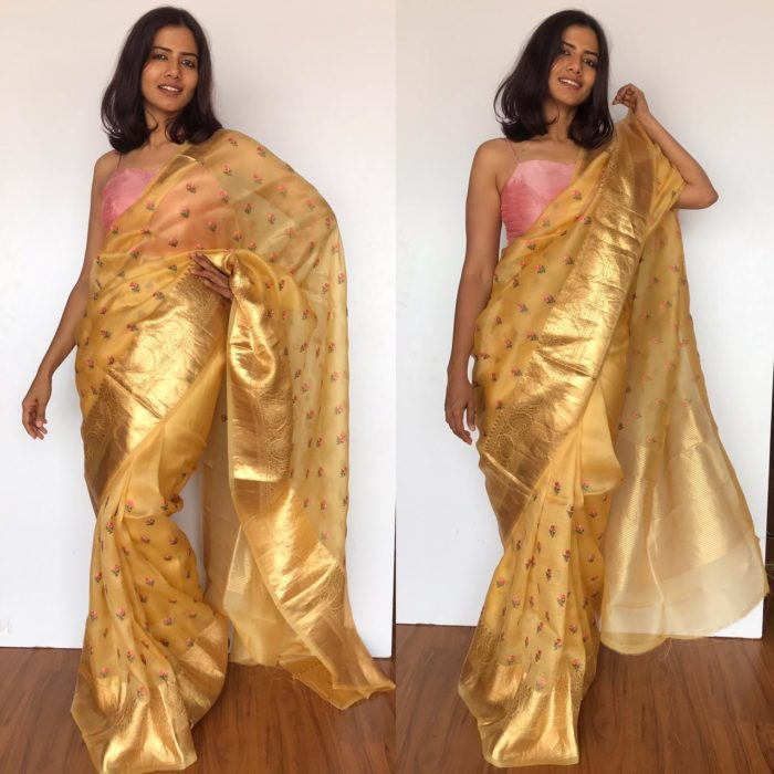 Yellow Pure Organza Saree with Floral Embroidery