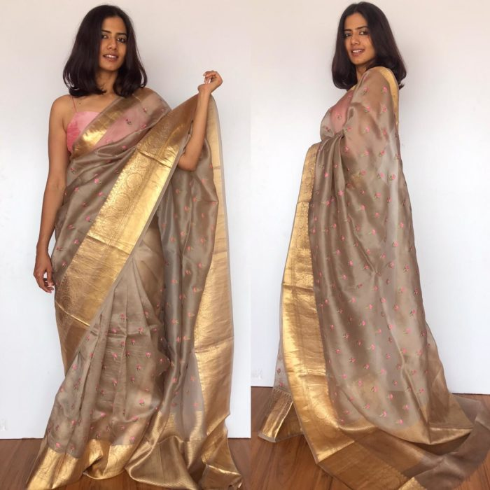 Grey Pure Organza Saree with Floral Embroidery