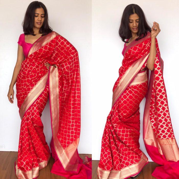 Scarlet Red Katan Silk Saree with Gold Zari Weaves