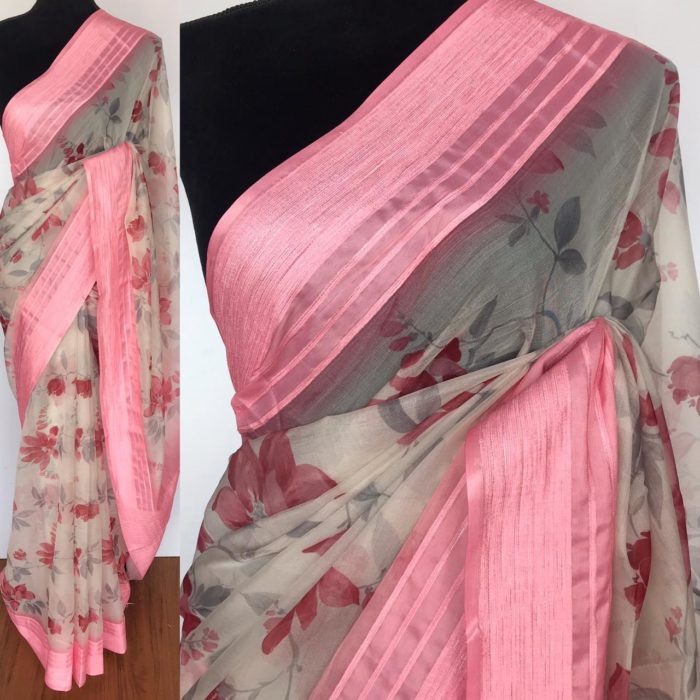 Off White Organza Saree with Floral Prints