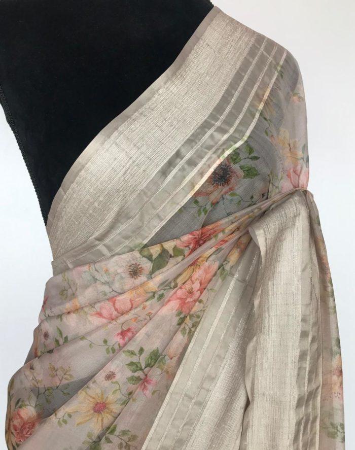 Grey Organza Saree with Floral Prints