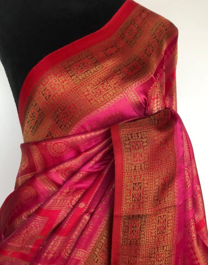 Pink with Red Banarasi Silk Saree with Antique Gold Zari Weaves