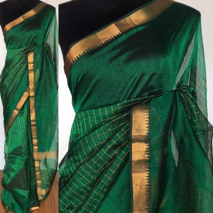 Bottle Green Mangalagiri Silk woven in Gold Zari in Chequered Pattern