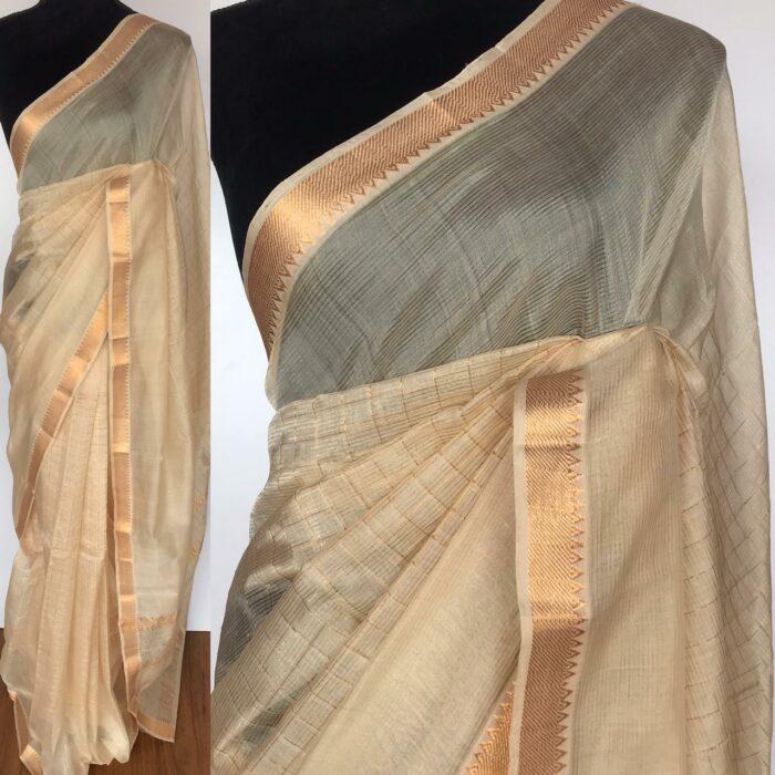 Off white Mangalagiri Silk Saree with gold zari checks