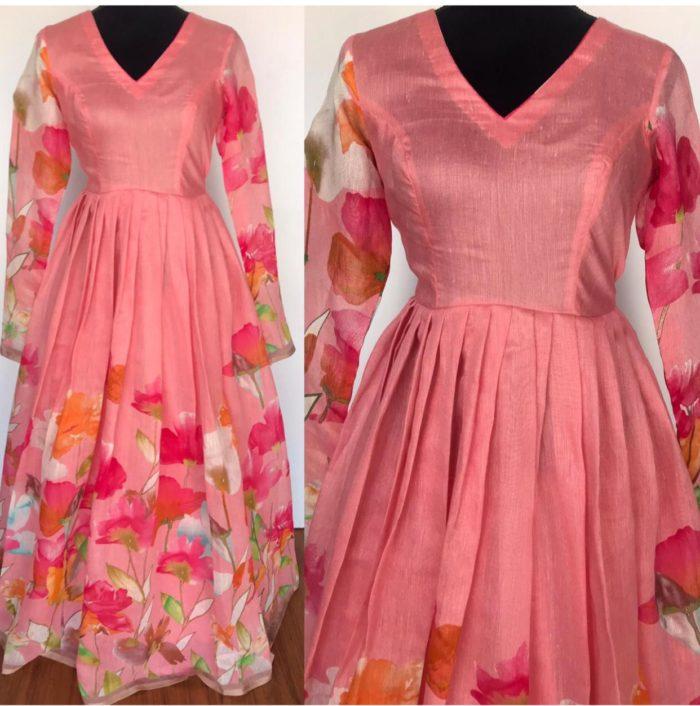Guava Pink Linen Cotton Dress