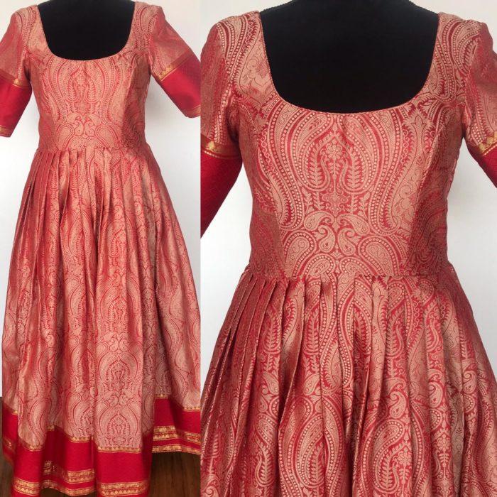 Red pink Banarasi Silk Dress