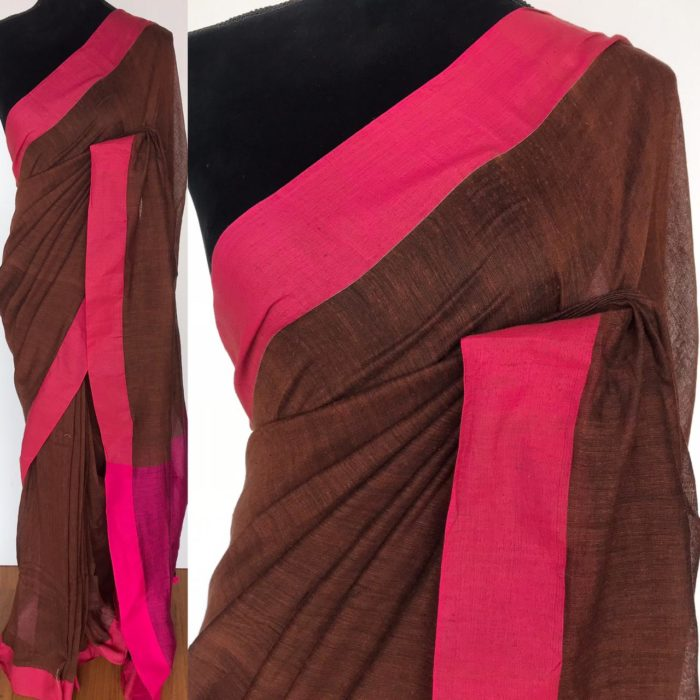 Brown Khadi Cotton Saree