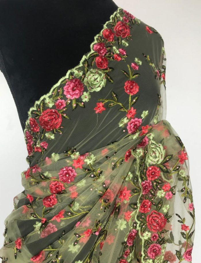 Pastel Green Designer Net Saree with Floral Embroidery