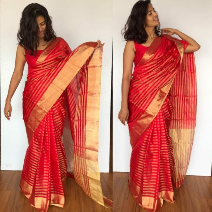 Red Chanderi Silk Saree with Gold Zari Weaves