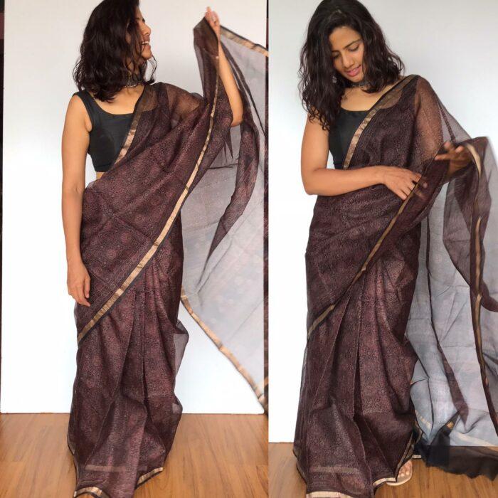 Dark Brown Kota Silk Saree with Ajrakh Handblock Prints