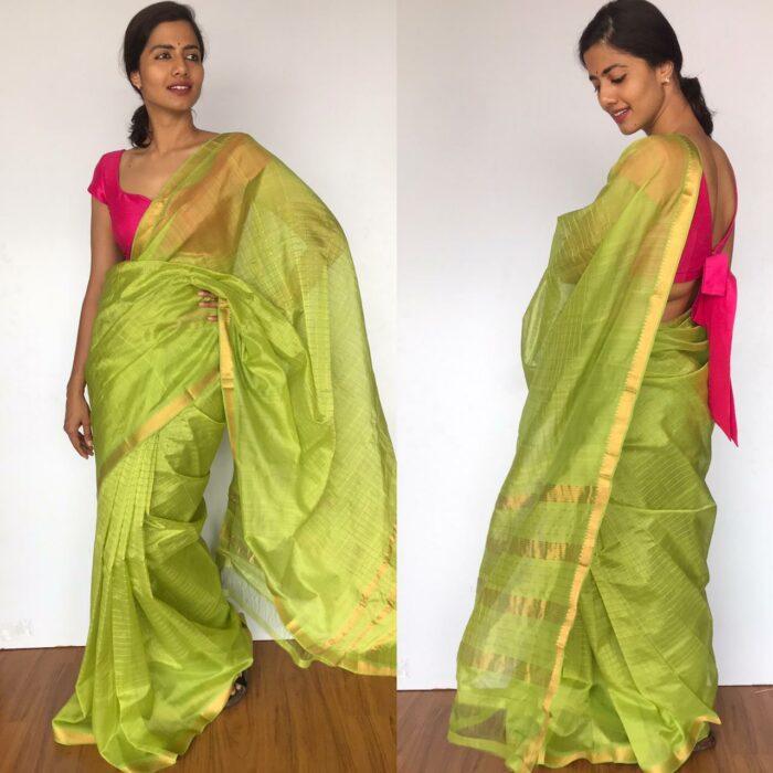 Green Mangalagiri Silk Saree with gold zari checks