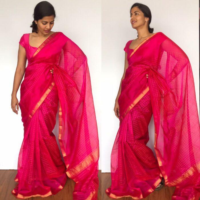 Pink Mangalagiri Silk Saree with gold zari checks