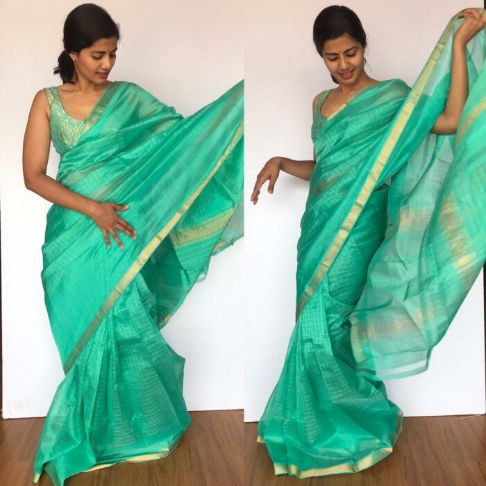 Teal Mangalagiri Silk Saree with gold zari checked