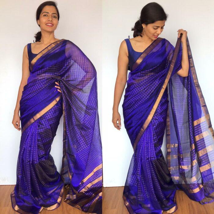 Violet Mangalagiri Silk Saree with gold zari checks