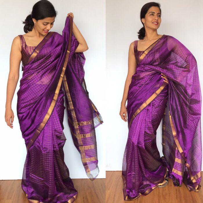 Purple Mangalagiri Silk Saree with gold zari checks