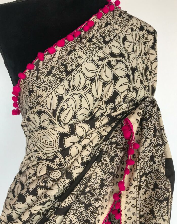 Black and White Printed Kalamkari Silk Saree