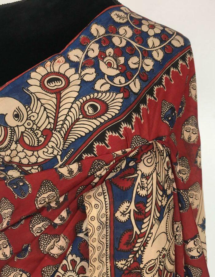 Maroon Printed Kalamkari Silk Saree