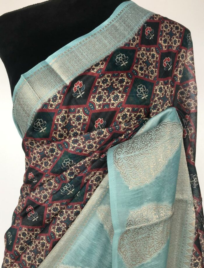 Multi Color Linen Cotton Saree with Digital Prints