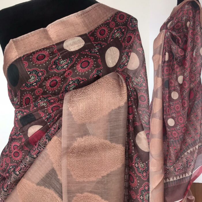 Multi Color Linen Cotton Saree with Digital Prints