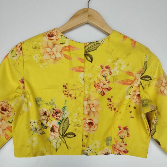 Yellow Georgette satin Blouse with Floral Prints