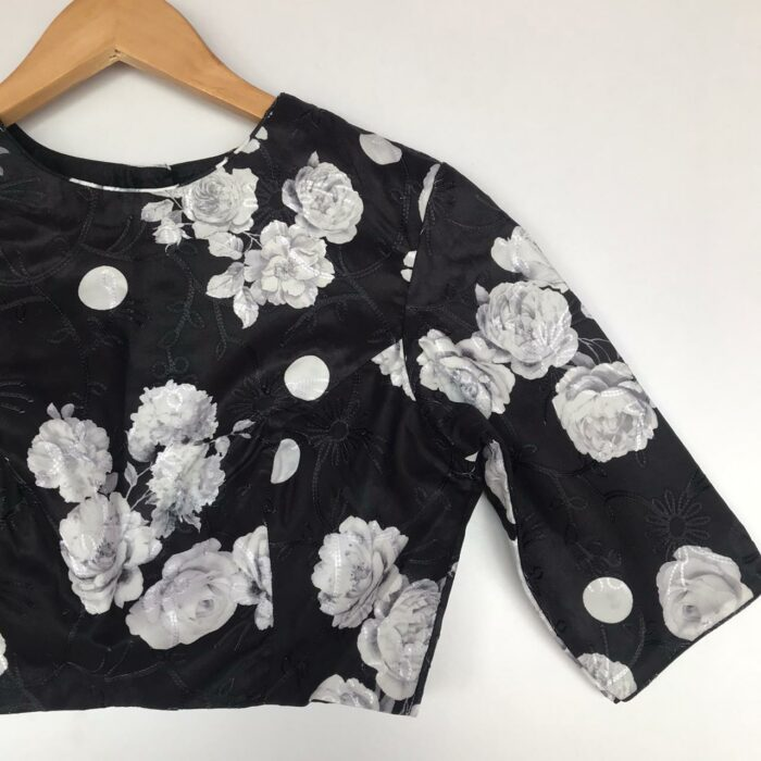 Black Embroidered Georgette Satin Blouse With Floral Prints