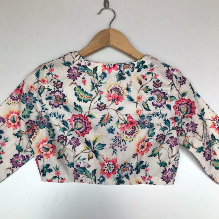 White Muslin Silk Blouse With Floral Prints
