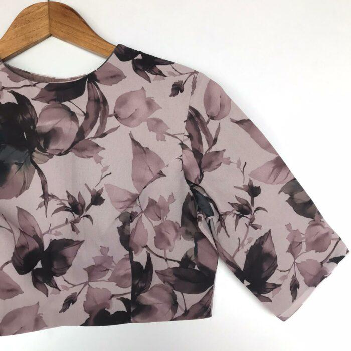 Mauve Georgette Blouse With Floral Prints