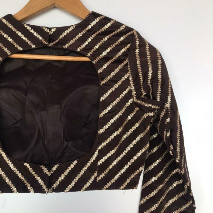Coffee Brown Chinnon Silk Blouse with Sequins Embroidery in Leheriya Pattern