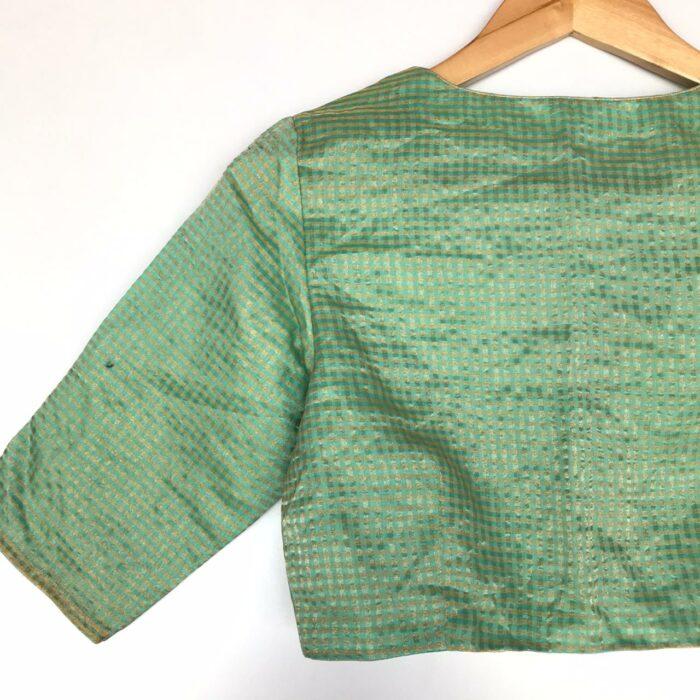 Sea Green Chanderi Silk Blouse with Zari Checks