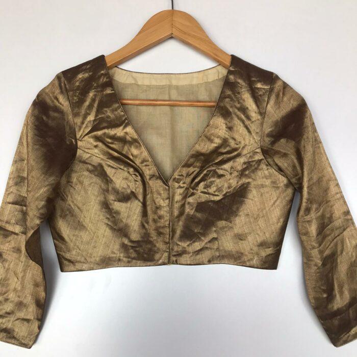 Metallic Gold Heavy Tissue Silk Blouse