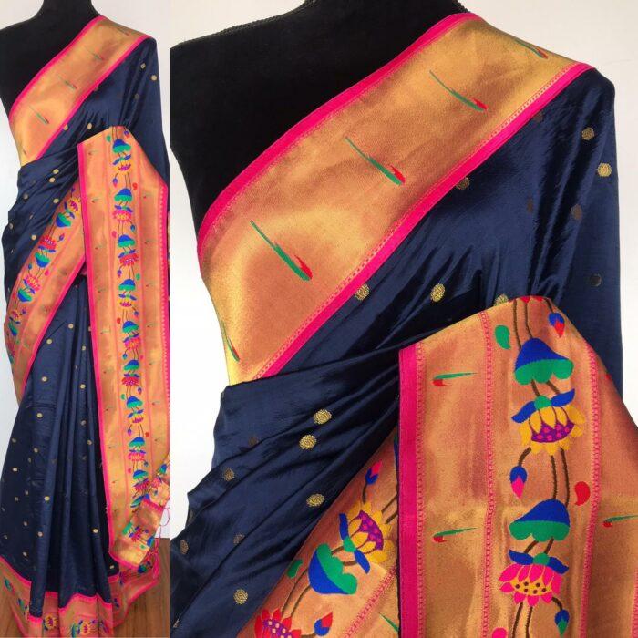 Navyblue Banarasi Silk Saree with Paithani Weaves