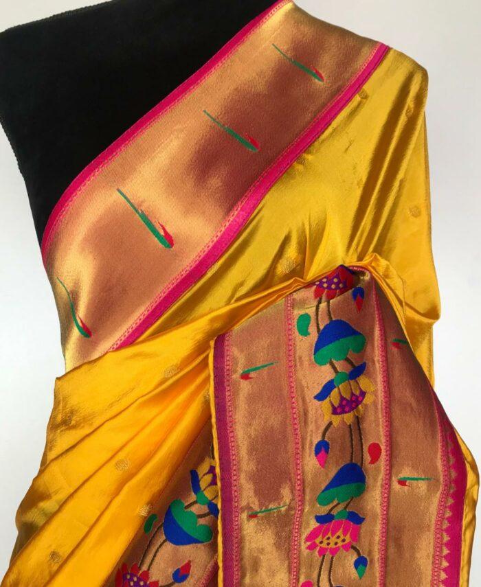 Yellow Banarasi Silk Saree with Paithani Weaves
