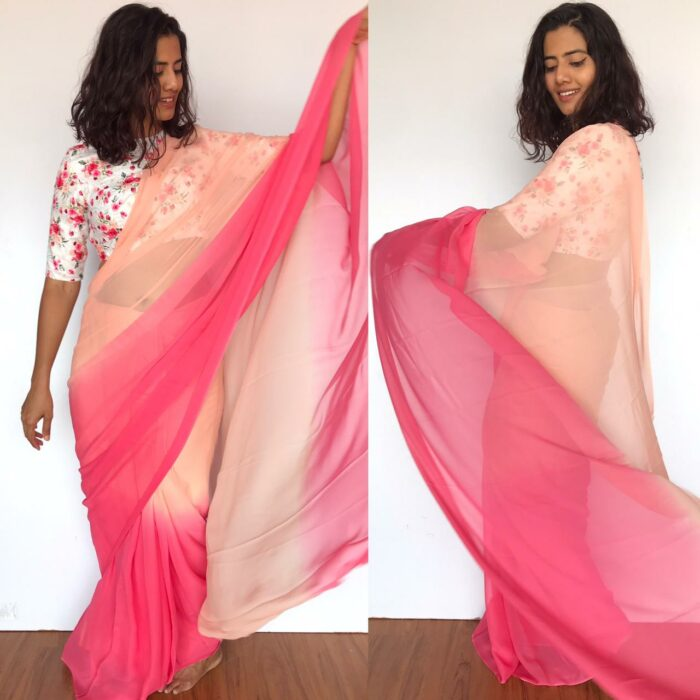 Creamy Pink Dual Shaded Georgette Saree with Stitched Blouse