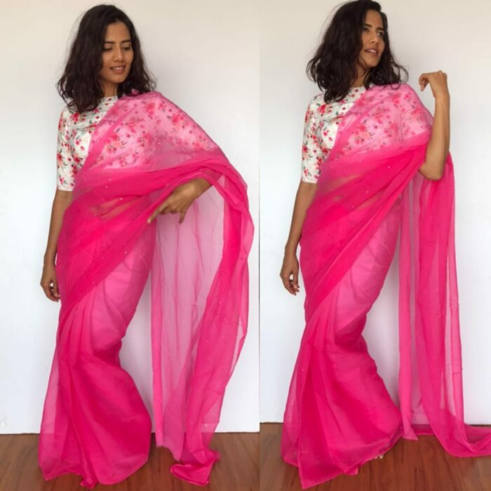 Pink Chiffon Saree with Badla work