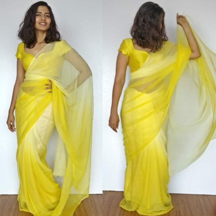 Lime Yellow Chiffon Saree with Badla work