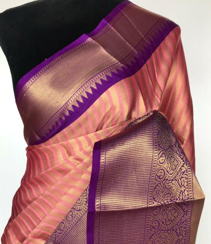 Creamy Pink Kora Silk Saree with Gold Zari Weaves